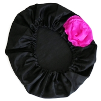 Habutai Silk Bonnet - Black with Flower