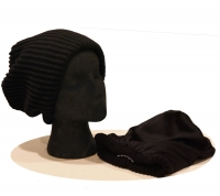 Childs Beanie - Ribbed Wool & Silk -Black