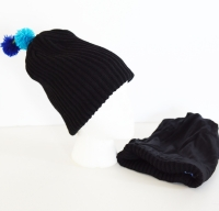 Child Pom Beanie -  Ribbed Wool & Silk