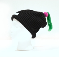 Childs Pom Swoosh Beanie -Ribbed Wool & Silk