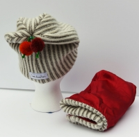 Child Apples & Orange Poms Beanie -  Ribbed Wool & Silk