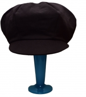 Apple cap - black cotton ponte, silk lined