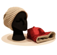 Childs Beanie - Ribbed Wool & Silk - Cream Puff