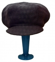 Apple cap - textured black wool, silk lined